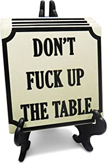 Absorbent Stone Drink Coasters - Set with a Holder - Funny Coasters for Drinks Don't Fuck Up The Table Design - Huge 4.25 Inch Square Ceramic Stone with Cork Backing Coaster