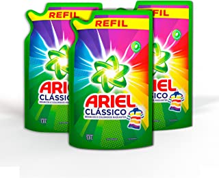 Kit Sabão Líquido Ariel Clássico, 3 sachês com 1,8 L cada, total 5,4 L