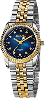 August Steiner Women's Coin Edge Luxury Dress Watch - Dial with Diamond Hour Markers on Stainless Steel President Bracelet