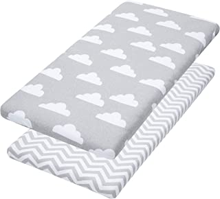 Jomolly Bassinet Sheets, 2 Pack Cloud & Chevron Fitted Soft Jersey Cotton Cradle Bedding