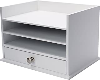 DesignOvation Francesca Desktop Organizer with 3 Letter Trays and Drawer, White