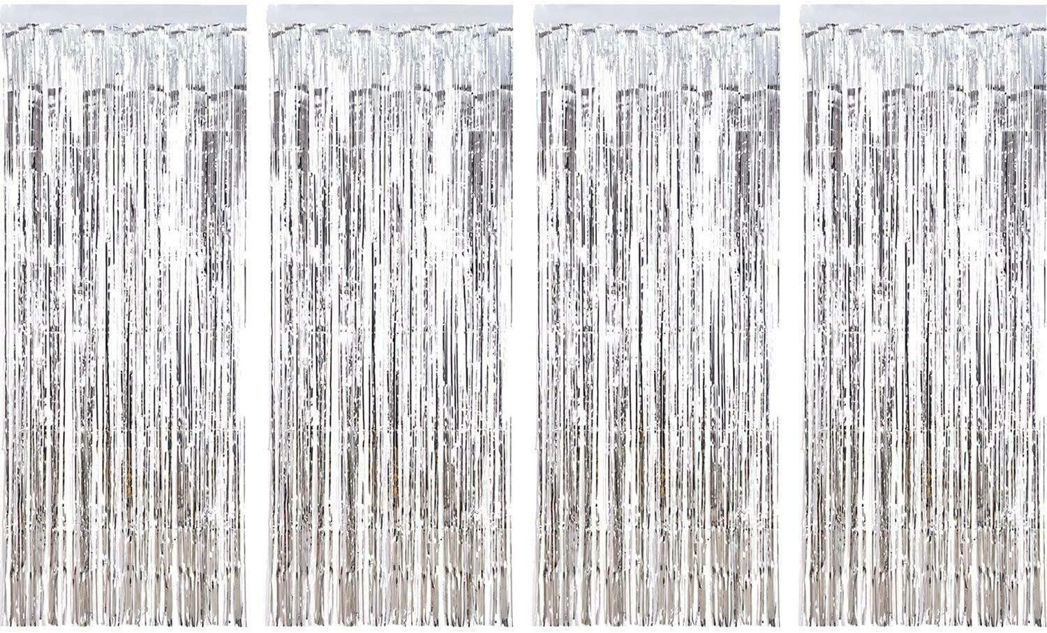 4pk Silver Fringe Metallic Curtain Par Years New Tinsel Max Selling and selling 65% OFF Backdrop