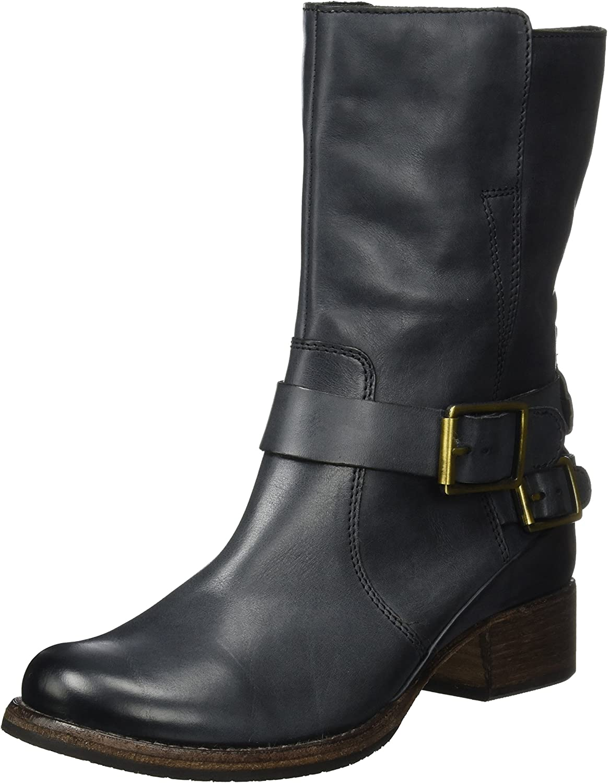 Clarks Monica Soul - Dark Grey Leather Womens Boots