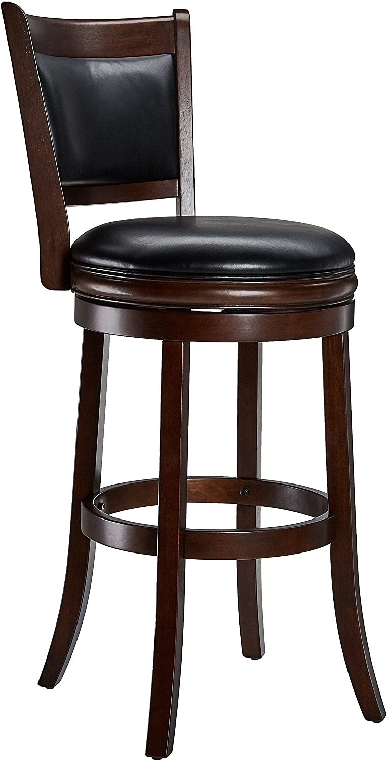Ball & Cast Jayden Wooden Swivel Bar Stool with Faux-Leather Upholstery, 29-Inch, Espresso