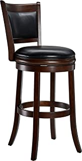 Ball & Cast Jayden Wooden Swivel Bar Stool with Faux-Leather Upholstery - 29 Inch Seat Height, Cappuccino