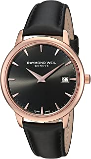 Raymond Weil Women's Toccata Stainless Steel Swiss-Quartz Watch with Satin Strap, Black, 20 (Model: 5388-PC5-20001)