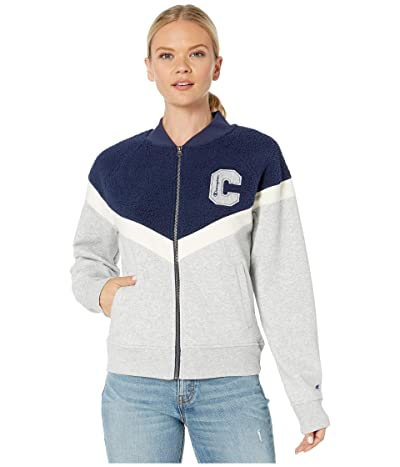 Champion Heritage Sherpa Bomber Jacket (Oxford Grey Heather/Athletic Navy) Women