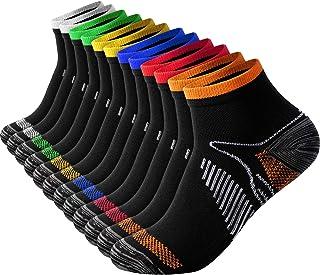 12 Pairs Unisex Compression Ankle Socks Performance Heel Tab Athletic Socks Sport Plantar Arch Support Socks for Women Men...