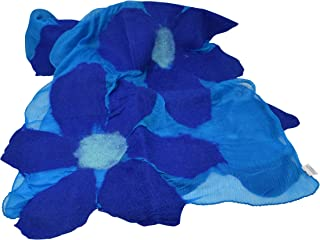 Women's Fashion Lightweight Anytime Merino Wool Felted Silk Chiffon Floral Scarf with Gift Bag