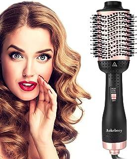 Aokebeey Cepillo y voluminizador de cabello 5 en 1 con cepillo para secar rizos de iones negativos, Cepillo Alisador (Negro-Rosa Dorado)