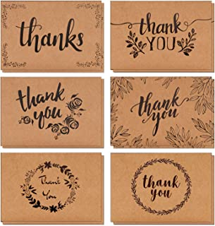 """AlexBasic Thank You Cards Bulk Set of 120 - Floral Thank You Notes Set Kraft Paper 4"""" x 6"""" Gratitude Cards Perfect for Business, Graduation, Baby Shower & Wedding"""