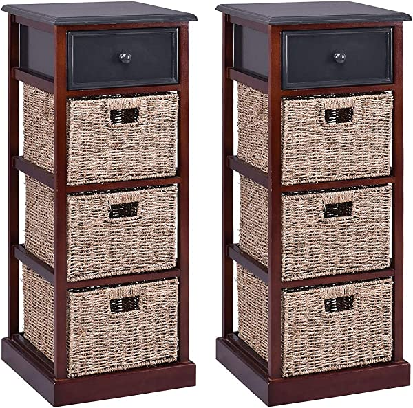 Giantex 2 Pcs Wooden Nightstand W 1 Drawer And Baskets Bedside Sofa Table Storage Organizer For Home Bedroom Living Room Furniture Red Brown Set Of 2 End Table 37 4 H