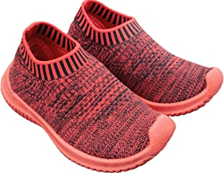 Ace Trends Kids Comfortable Shoes 1.5-2 Year's in Red Colour Slip-on/Sneakers/Loafers/Moccasins with Ultra Lightweight Socks, Breathable Fabric Casual Wear Shoe for Boy's & Girl's