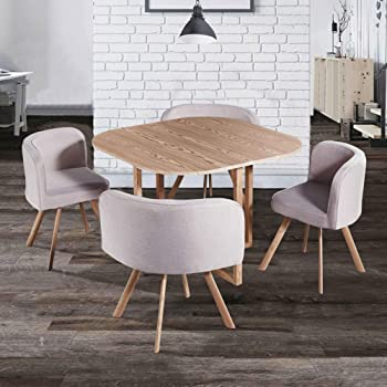 Decoinparis Ensemble Table 4 Chaises Encastrables Flen Beige
