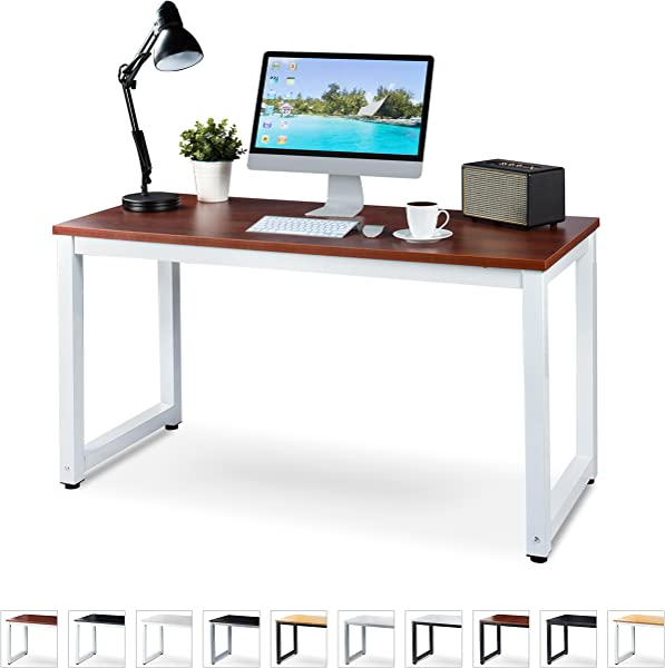 Office Computer Desk 55 X 23 Teak Laminated Wooden Particleboard Table And White Powder Coated Steel Frame Work Or Home Easy Assembly Tools And Instructions Included By Luxxetta