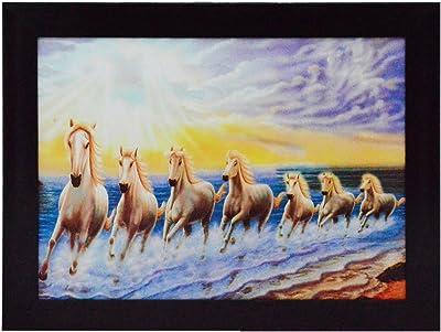 eCraftIndia 'Running Lucky Horses Design' Satin Matt Texture Framed UV Art Painting (Synthetic Wood, 34.3 cm x 1.3 cm x 26.7 cm)