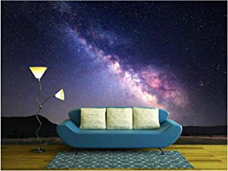 wall26 - Landscape with Milky Way. Night Sky with Stars at Mountains. - Removable Wall Mural   Self-Adhesive Large Wallpaper - 100x144 inches