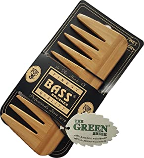 "Medium (6 X 2.5 Inch) Wide Tooth Wood Comb (1/4"" Space) By Bass Brushes"