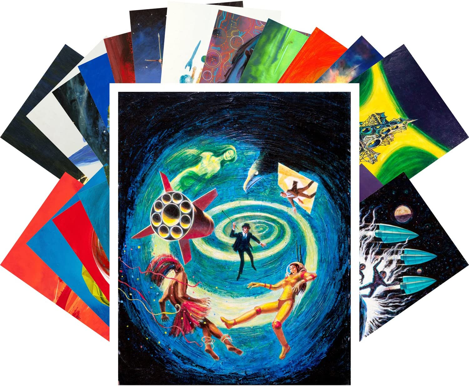 Columbus Mall Postcard Set 24pcs Vintage Psychedelic SciFi Surrealistic Now free shipping Comic