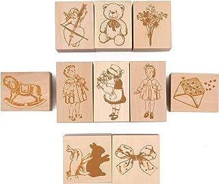 MissOrange『木製ゴム印セット』可愛い女の子 テディベア ちょう結び 可愛い天使 クリエイティブスタンプセット クラフトカード スクラップブッキング 手帳用 10個セット M-65