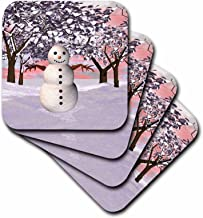 3dRose LLC cst_97865_1 Soft Coasters, Snowman in Winter Wonderland, Set of 4