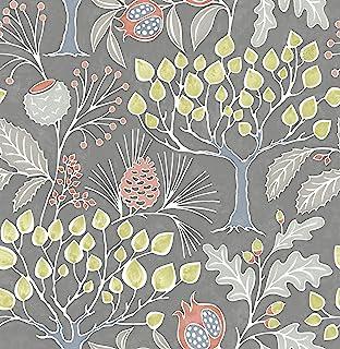 NuWallpaper NU3039 Groovy Garden Grey Peel & Stick Multicolor Wallpaper