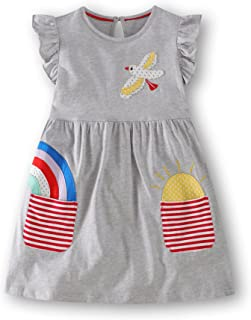 KIDSALON Girls Short Sleeve Summer Cotton Striped Cute Print Casual Dress