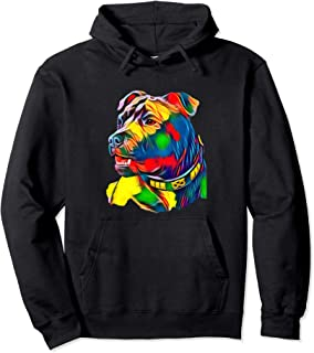 Watercolor Art Colorful American Staffordshire Bull Terrier Pullover Hoodie