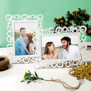 Art Street Decoralicious Resin Circular Table Photo Frame for Home Decor (White, 4X6 Inch) - Set of 2