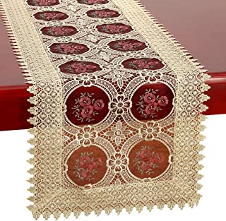 Simhomsen Vintage Gold Burgundy Lace Table Runner and Dresser Scarves Embroidered Rectangle 16 × 48 Inch