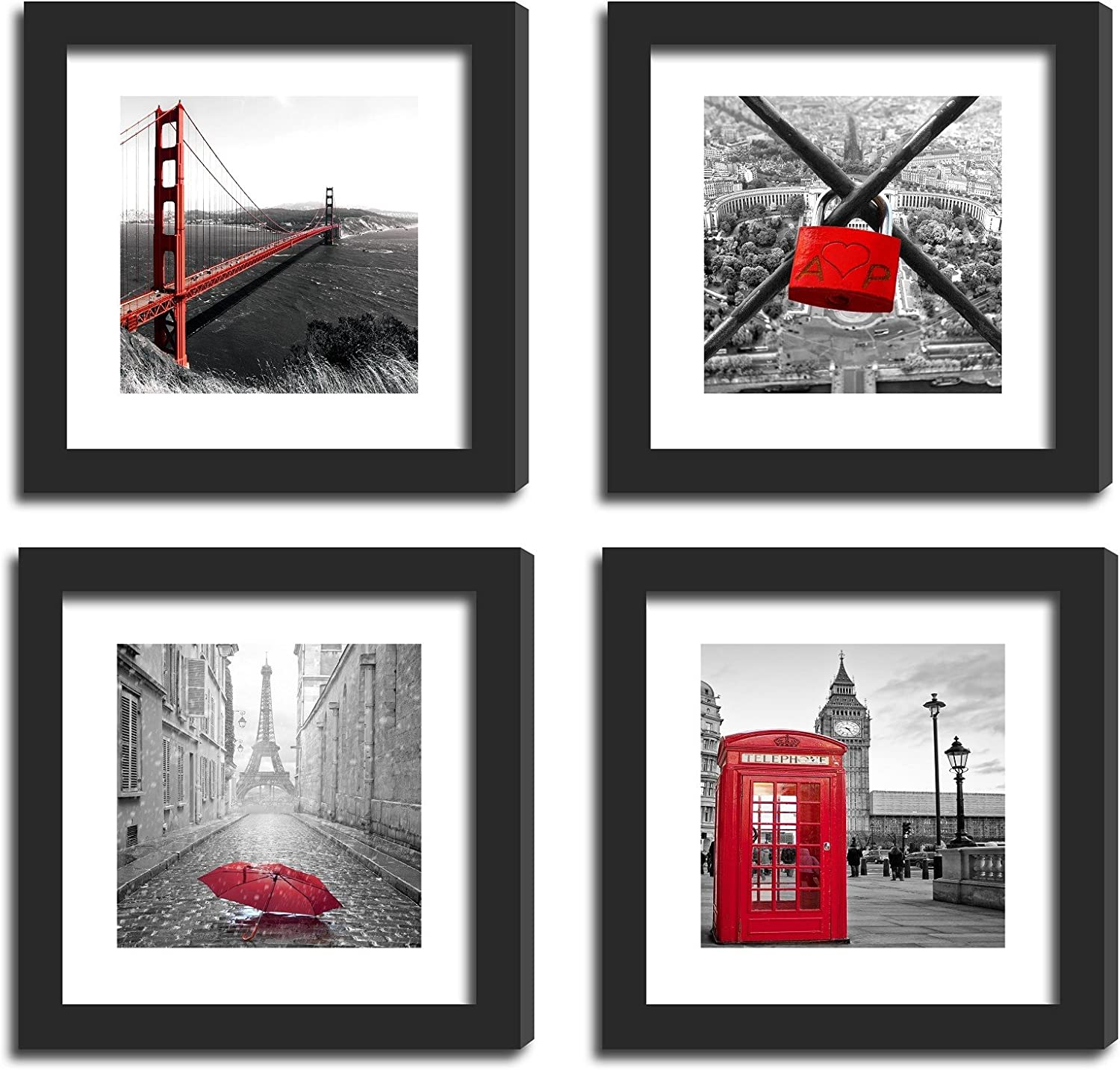 Cheap sale SmartWallStation 4Pcs 11x11 Real Glass Frame 2X Wood Albuquerque Mall Black with