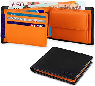 SKENZBI® Mens Wallet RFID Blocking Leather Men's wallets - With 9 Credit Card Holder,Money Coin Pocket,2 Banknote Compartm...