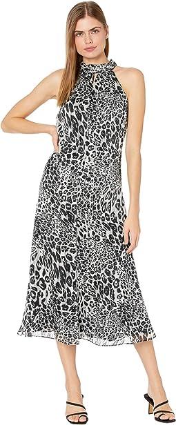 Adrian Metallic Stripe Leopard Burnout Dress