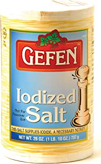 Gefen Iodized Salt 26oz (2 Pack, Total 3.25 Pounds) Easy Pour Spout Canister, Product of the USA , Certified Kosher