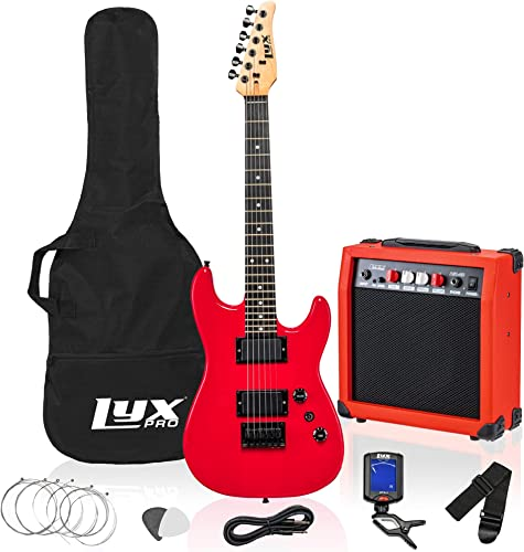 wholesale LyxPro discount 36 Inch Electric Guitar and Kit for Kids with 3/4 Size Beginner's Guitar, Amp, Six Strings, Two Picks, Shoulder Strap, Digital Clip On Tuner, Guitar Cable and popular Soft Case Gig Bag -Red outlet online sale