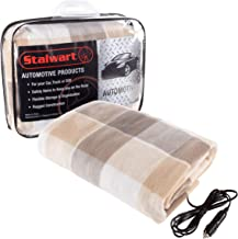 Stalwart 75-BP1010 Gray Electric Blanket-Heated 12V Polar Fleece Travel Throw for Car, Truck & RV-for Cold Weather, Tailgating & Emergency Kits