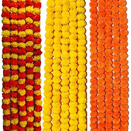 VRCT Artificial Marigold Flowers Garlands for Decoration - Pack of 15 (Mix+Yellow+Orange)