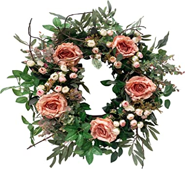 Huashen Rose Wreath with Green Ivy Leaves, Summer Artificial Blossom Floral Decor on Grapevine Base for Front Door Wedding Farmhouse 24 inch Pink