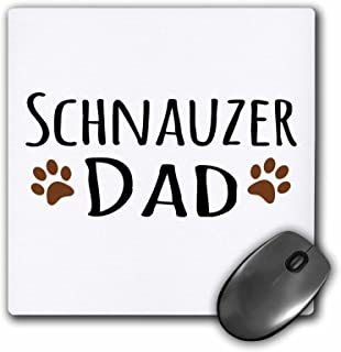 3dRose Schnauzer Dog Dad - Muddy Brown paw Prints - Doggy Lover - Mouse Pad, 8 by 8 inches (mp_153977_1)