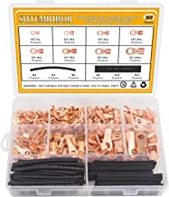 Sutemribor 280PCS Open Barrel Wire Crimp Copper Ring Lugs Terminal Connector with 2:1 Heat Shrink Tubing Assortment Kit (OT 5A 10A 20A 30A 40A 50A 60A 100A)