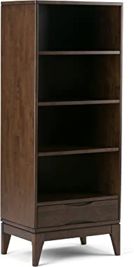 SIMPLIHOME Harper SOLID HARDWOOD 60 inch x 24 inch Mid Century Modern Bookcase, Bookshelf with Storage in Walnut Brown with 1