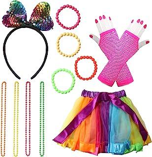 80 Fancy Dress Costume Accessories Rockstar Fancy Dress Neon Rainbow Tutu with Neon Rainbow Dress Glove Bracelets Necklace...