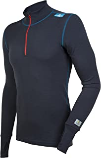 98% Merino Wool Men's Sport Zip Shirt Machine Washable Made in Norway