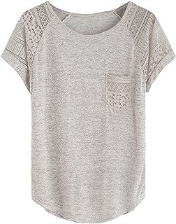 6650a05cc7 DIDK Femme T-Shirt en Mousseline T-Shirt avec Poche Top Lace Top Manche