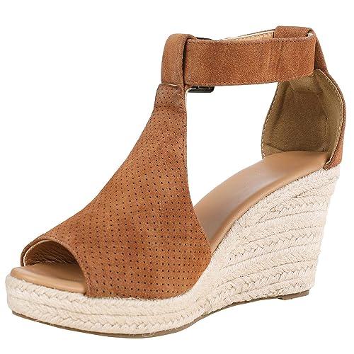 4f4d3d409e14 Syktkmx Womens Platform Wedge Sandals Suede Peep-Toe Strap Buckle Mid Heel Espadrille  Shoes D