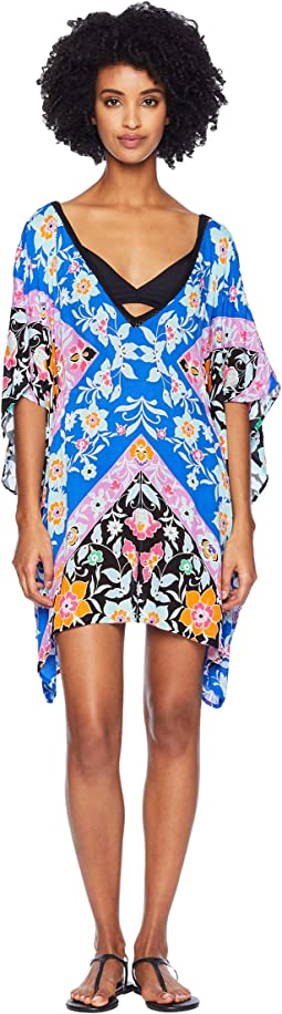 Flower Bomb Scarf Caftan Cover-Up