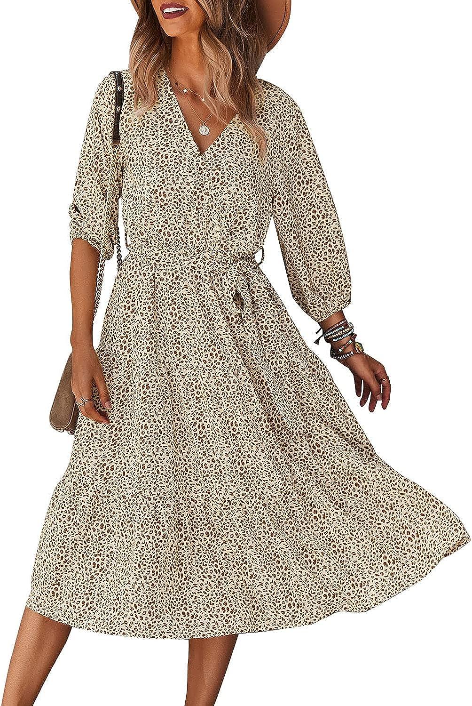 Schkleier Women's Summer 3/4 Sleeve V Neck Casual Fall Flowy Party Floral Midi Dress