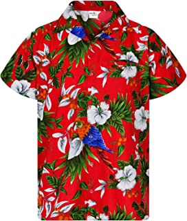 Hawaiian Shirt for Men Funky Casual Button Down Very Loud Shortsleeve Unisex Cherry Parrot