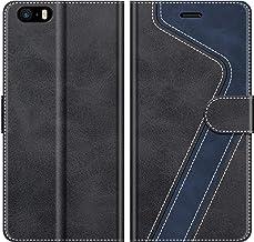 MOBESV Custodia iPhone SE, Cover a Libro iPhone SE, Custodia in Pelle iPhone SE Magnetica Cover per iPhone SE/iPhone 5S, Elegante Nero