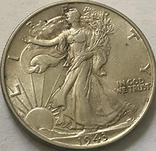 1943 P Silver Walking Liberty WWII Era Beautiful Half Dollar AU